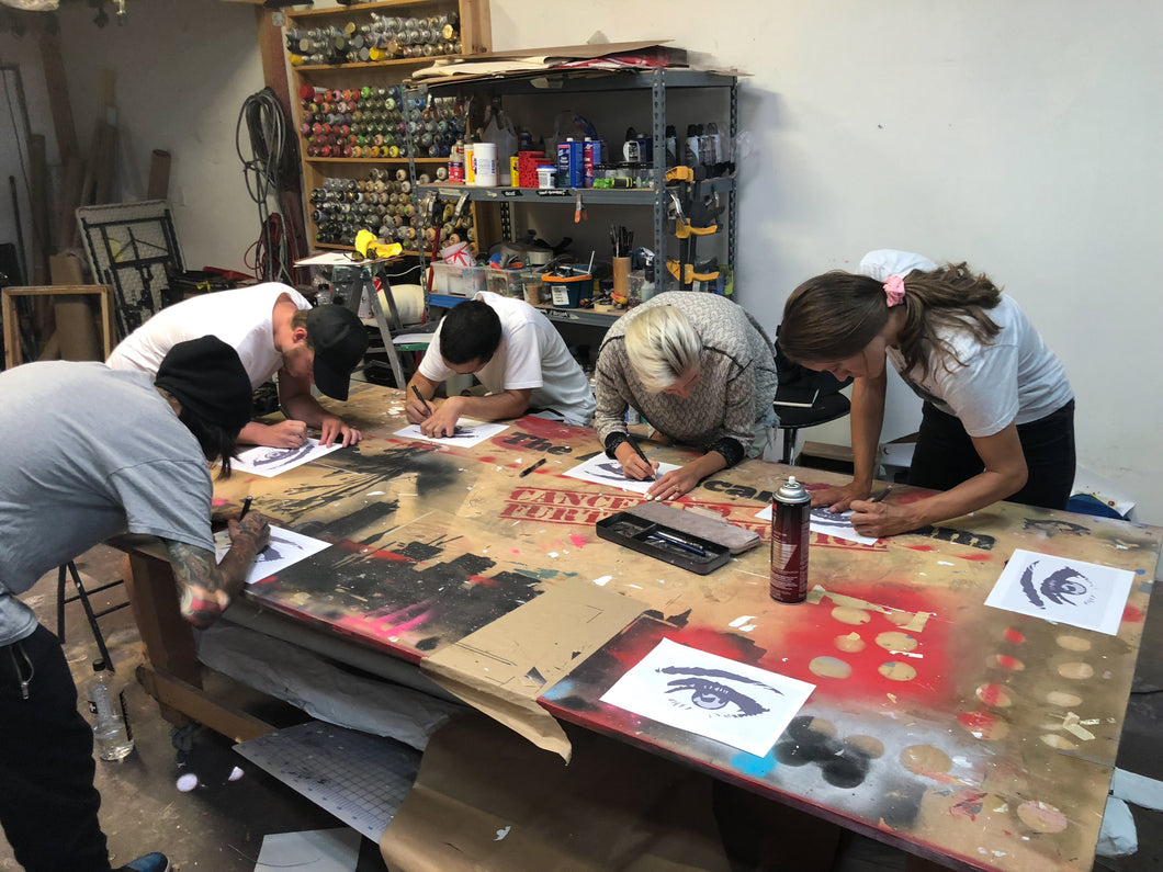 Art stencil workshop - putting creating art