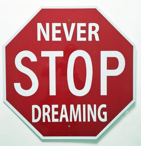 Street art - stop sign saying never stop dreaming by Plastic Jesus