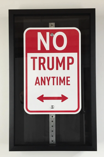 no Trump parking sign by Plastic Jesus