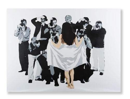 Art canvas showing girl 'flashing' paparazzi