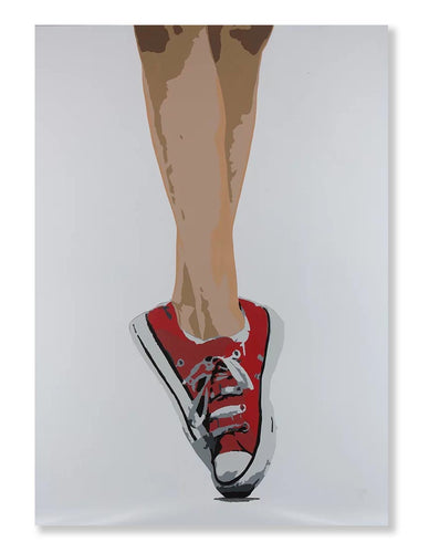 Art canvas - woman's feet standing on toes wearing converse shoes