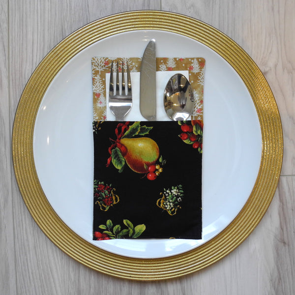 Cutlery holder in striking pear on black background fabric with gold/white/red trees contrast