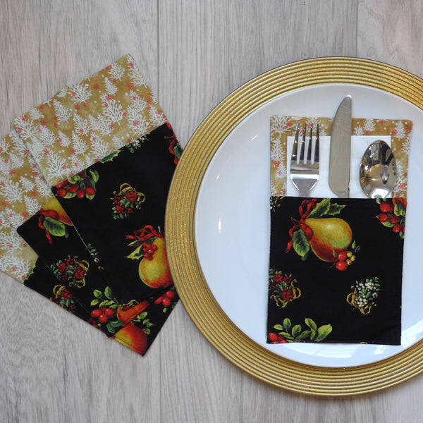 Cutlery holder set in striking pear on black background fabric with red/black/gold contrast