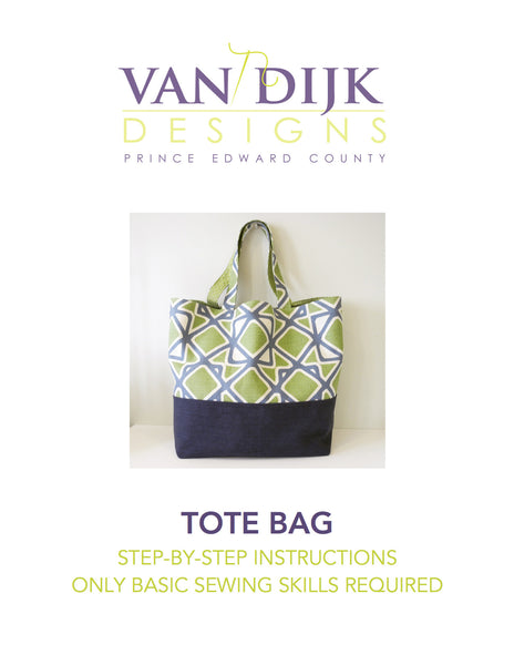 Front cover of digital download of tote bag instructions