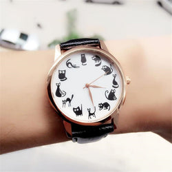Cat Lovers Favourite Black Leather Wristwatch For Women
