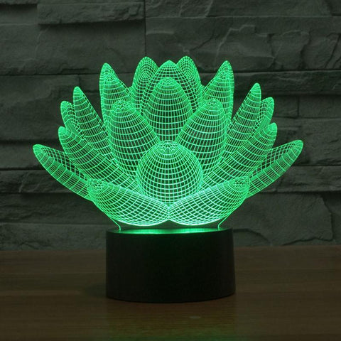 3D Lotus Flower Color Changable Lamp