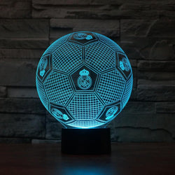 3D Real Madrid Football Color Changable Lamp