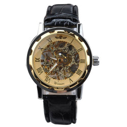 Classic Men's Black Leather Gold Plated Skeleton Wristwatch