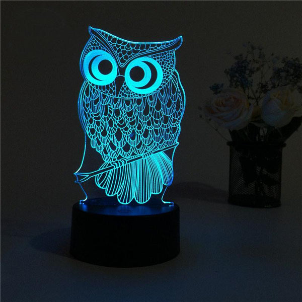 3D Owl Color Changable Lamp