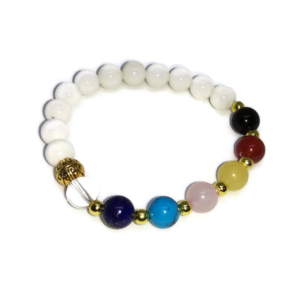 Natural White Onyx Chakra bead bracelet with gold plated accents