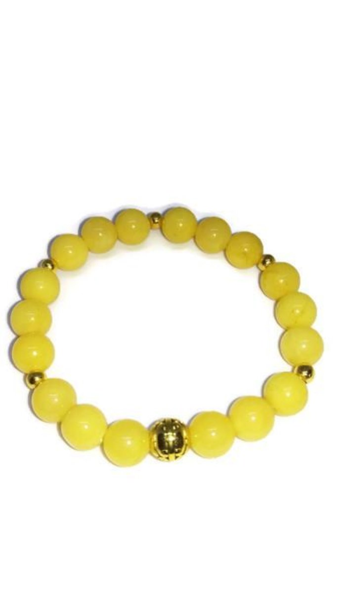 Natural Yellow Aventurine 8mm bead bracelet with gold plated accents