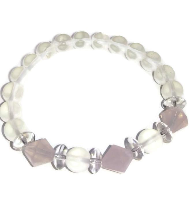 Crystal Quartz with Rose  Quartz Bracelet