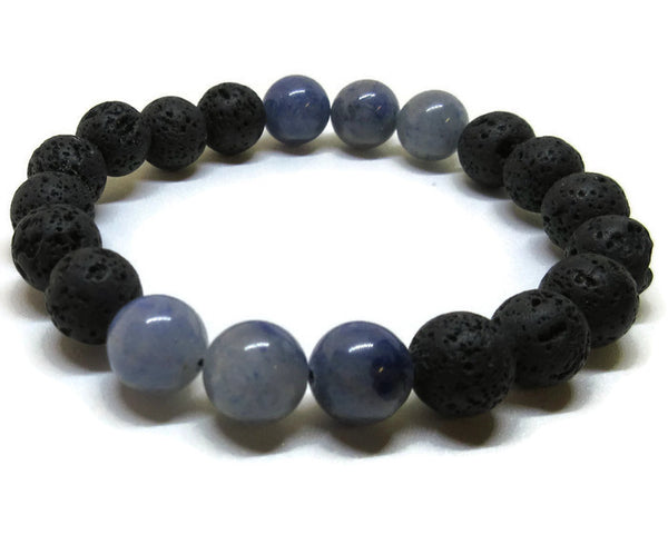 Men's Lava and Blue Aventurine Bracelet