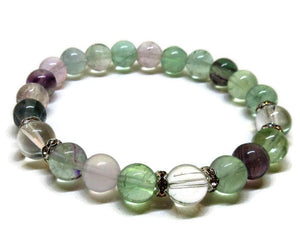 Fluorite with Crystal Quartz Bracelet