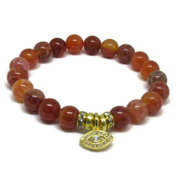 Natural Fire Agate beaded bracelet with CZ gold evil eye charms and 22k gold plated rondelles