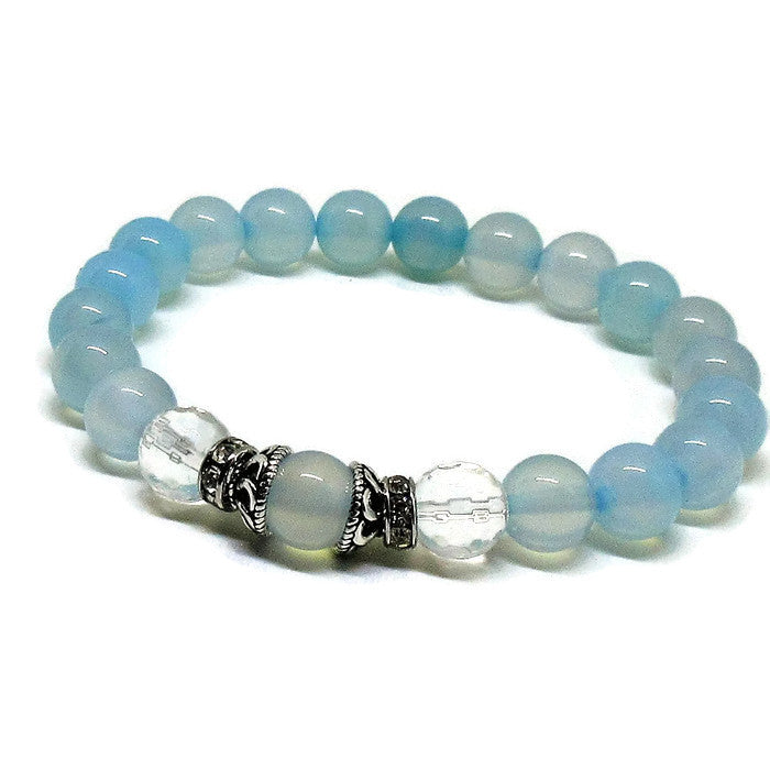 Blue Chalcedony and Crystal Quartz Bracelet
