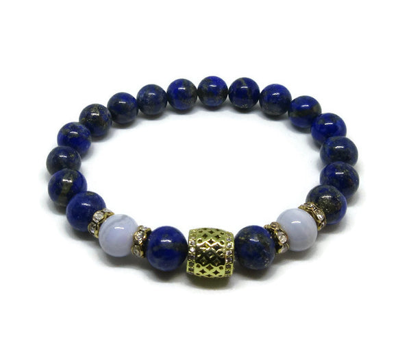 Lapis Lazuli 8 mm Grade A with Blue Lace Agate and gold cz barrel bead and rhinestones