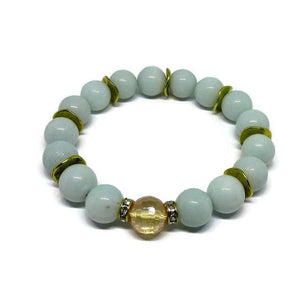 Amazonite 10mm stretch bracelet with Tangerine Quartz and gold accents