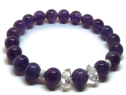 Amethyst stretch bracelet with Herkimer Diamond and Sterling Silver accents