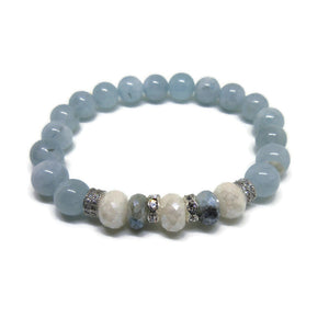 Aquamarine with silver coated Sapphire and Snow Quartz Bracelet