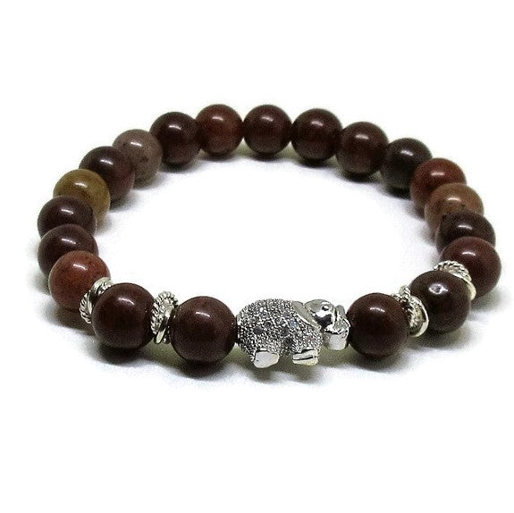 Red Aventurine 8 mm stretch bracelet wit CZ micro pave silver elephant and silver accents