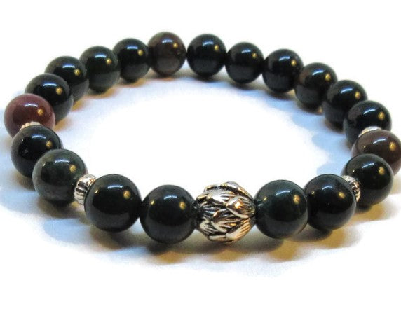 Bloodstone beaded bracelet with lotus silver bead