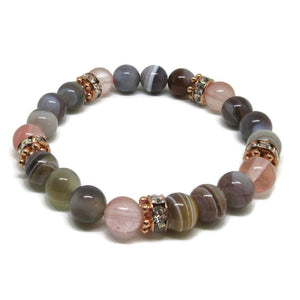 Botswana Agate with Cherry Quartz 8 mm bracelet and rose gold plated rhinestones