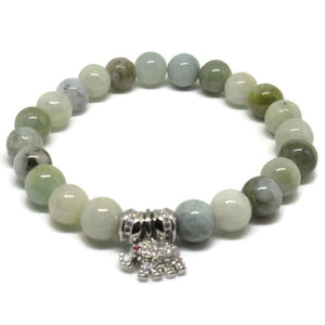 Burmese Jade bracelet with cz pave silver elephant charm as spacers