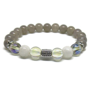 Chalcedony 8mm beads with Rainbow Moonstone , Angel Aura and cuboid cz bead