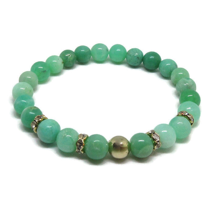 Australian Chrysoprase 8mm stretch bracelet with 14k gold filled bead