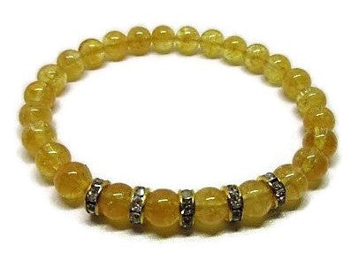 Natural 6mm Citrine stretch bracelet with gold rhinestones