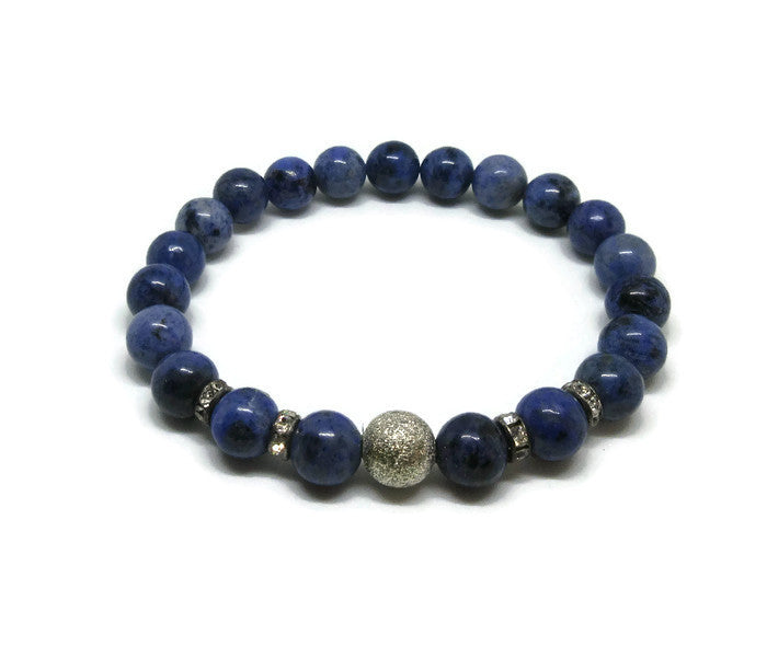 Dumortierite stretch bracelet with silver stardust bead and silver rhinestones