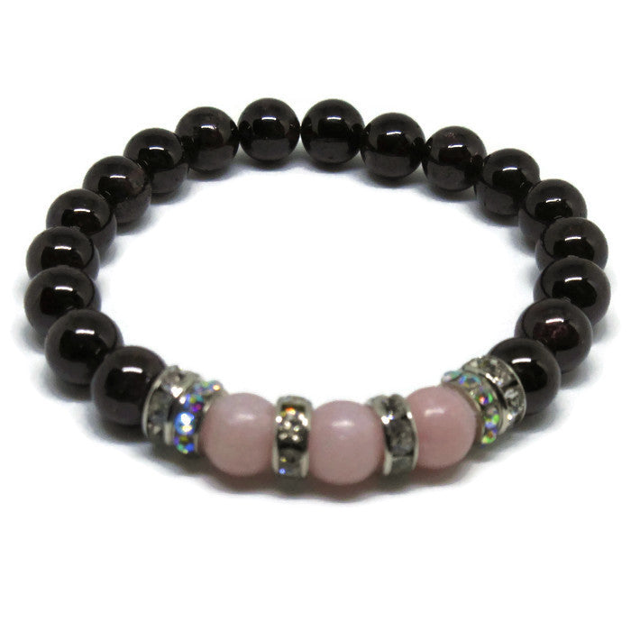 Natural Garnet and Pink Opal beaded bracelet 8mm with clear and ab rhinestones