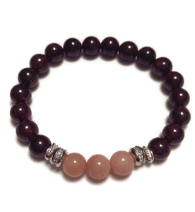 8 mm bracelet garnet stone and sunstone with cz silver rondelles and silver plated spacers