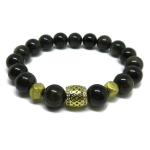 Golden Sheen Obsidian 10 mm natural stretch bracelet with cz gold tube