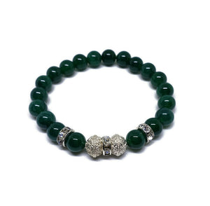 8 mm Green Agate beaded bracelet with Persian style silver plated beads and rhinestones