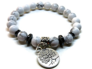 Howlite and Hematite stretch bracelet with silver tree of life charm