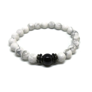 Howlite and Black Tourmaline stretch bracelet with black rhinestones
