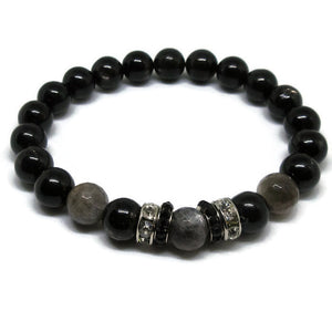 Hypersthene with faceted Black Moonstone beaded bracelet and black and clear rhinestoes