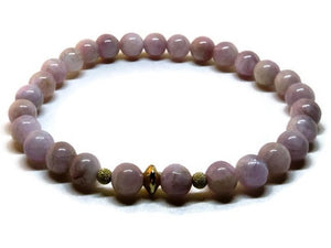 Kunzite 6 mm beaded bracelet with 14k gold filled accents