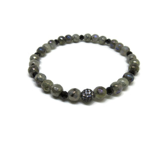 Labradorite 6mm and Black Spinel faceted stretch bracelet with black cz ball