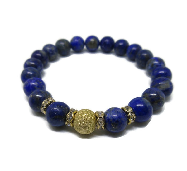 Lapis Lazuli beaded bracelet with 14k gold stardust bead