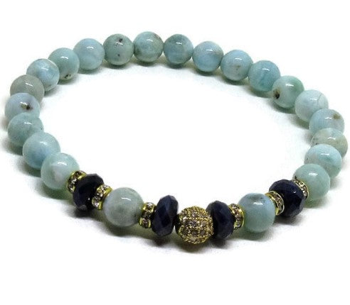Larimar 6mm beaded bracelet with 6 mm faceted Sapphire and cz micro pave gold bead, clear crystal gold rhinestones