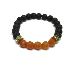 Lava Rock and faceted Carnelian stretch bracelet with gold accents 8mm beads