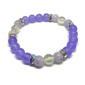 Lavender Jade and Lavender Amethyst 8 mm stretch bracelet with Angel Aura and AB rhinestones
