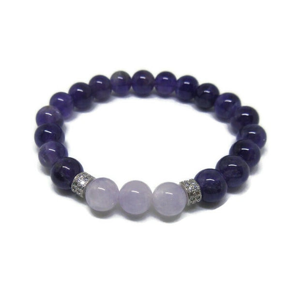 Amethyst and Lavender Amethyst 8 mm beaded bracelet with cz silver spacers