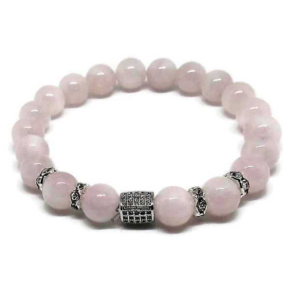 Madagascar Rose Quartz bracelet with cubic zirconia silver barrel bead and crystal rhinestones