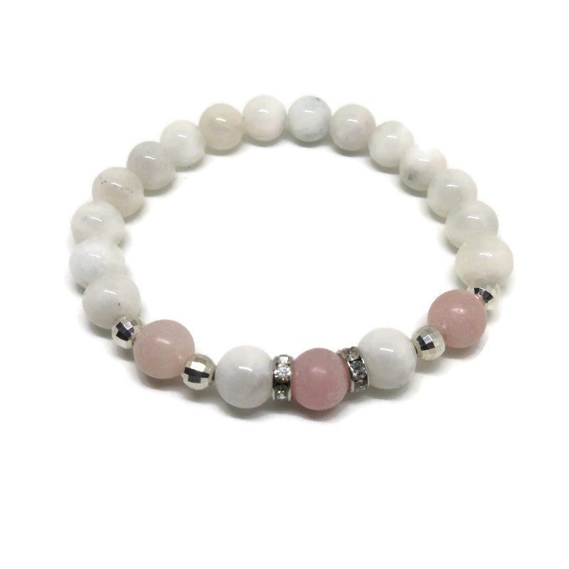 Rainbow Moonstone and Pink Opal 8 mm beaded bracelet