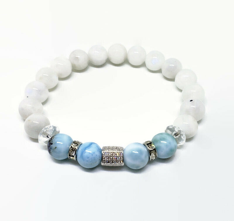 Larimar and Rainbow Moonstone 8 mm stretch bracelet with cz tube and rhinestones