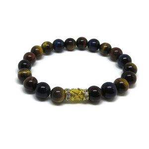 Multi colour Tiger Eye stretch bracelet with 22k gold plated tube